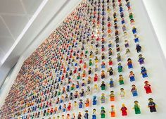 Toy Wall Mounts-The Acrylicize LEGO wall display showcases an assortment of miniature toys, ones that have proved to be the perfect albeit tiny additions to the consulting agency's office space. Lego Minifigure Display, Lego Display, Lego Minifigs, Lego Shelves, Lego Wall, Lego Room, Acrylic Display, Toy Rooms, Boys Room Decor