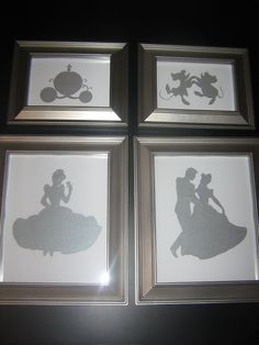 disney princess silhouette, Cinderella art, once upon a time, fairytale. cute for a baby girls room