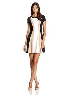 Wear To Work Womens Cap-Sleeve Color-Block Fit-and-Flare Dress www.weartowork.us #weartowork #dress