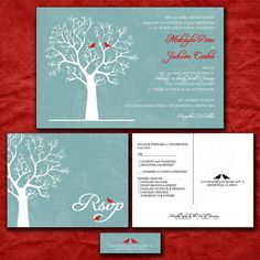 Custom Wedding Invitation Set - Love Birds in Winter Blue and Red - with RSVP postcards and address labels