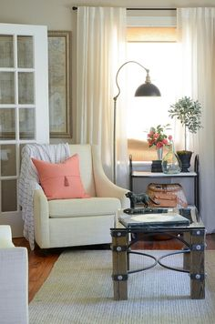 IRON & TWINE: Happy Spring   Blogger Stylin Home Tours 2015 - I like the light and airy look of this home.