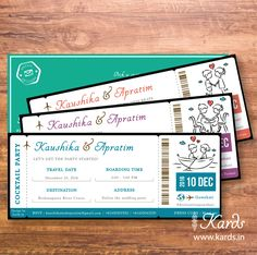 "Design a boarding pass Invitations for a destination wedding. Never get ""bored"" of these! Fly out your guests to the wedding.  #quirky #wedding #Indian #invitation #destionationwedding #boardingpass #colorful #quirkywedding #creative #indianwedding #indianbride #shaadi #airline #ticket #weddinginvitatin"