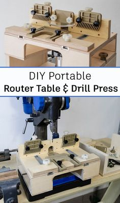 The table can be easily transformed from a router table to a drill press table by unscrewing two knobs and detaching the two main parts composing it.