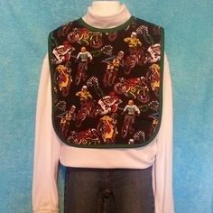 Something Sew Special, for kids with special needs. Motorcycles sz Large Bib