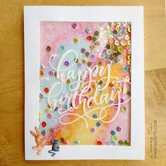 Full Card Shaker with Embossed Acetate Window – kiwi koncepts Handmade Birthday Cards, Happy Birthday Cards, Greeting Cards Handmade, Card Birthday, Birthday Wishes, Birthday Images, Birthday Quotes, Birthday Greetings, Mama Elephant Cards