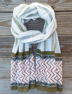 Stripes Unisex Scarf from Passion Lilie. Fair trade. Handblock printed. 100% super soft cotton. Eco dyes.