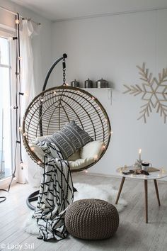 DIY snowflake from ice sticks – winter / Christmas wall decoration – lady-stil.de Shop the Look hanging chair * advertising There's a reason blue is a common favourite in bed room colors trends. Cute Room Decor, Decoration Bedroom, Wall Decor, Zen Bedroom Decor, Bedroom Furniture, Ikea Bedroom, Furniture Ads, Bedroom Chair, Small Furniture