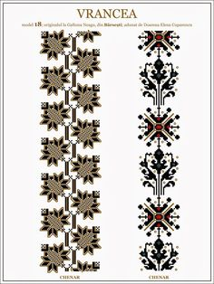 Iie (traditional romanian blouse) from Vrancea embroidery pattern… Hungarian Embroidery, Folk Embroidery, Cross Stitch Embroidery, Embroidery Patterns, Knitting Patterns, Butterfly Embroidery, Cross Stitch Borders, Cross Stitch Patterns, Brick Stitch