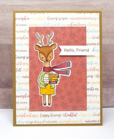 Hello Card- Hello Friend Card- Friendship Card- Fall Hello Card- Deer Card- Cute Hello Card- Handmade Hello Card Harvest Season, Alcohol Markers, Friendship Cards, Fall Cards, Cards For Friends, Cute Images, Kids Cards, Note Cards, Hand Stamped
