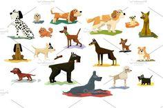 Different Dog Breeds Set. Pet Icons