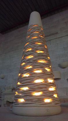 """Lamp """"trullo"""" in local stone (pietra leccese), hand-made. New creation.   Lampada trullo in pietra leccese, realizzata a mano. Nuova creazione.  www.laputea.com"""