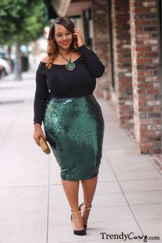 Break out the spanx because I gotta have this shimmer skirt....Trendy Curvy - Plus Size Fashion