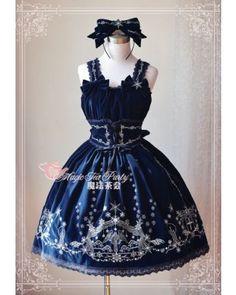 #Lolitadress#Lolita#Dress,Magic Tea Party Velvet Winter's Lyrics Embroidery JSK Dress
