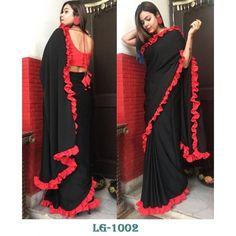 Ruffle Saree : Black Color Ribbon Border Designer Saree Saree Jacket Designs, Saree Tassels Designs, Sari Blouse Designs, Bridal Blouse Designs, Lace Saree, Saree Dress, Saree Blouse, Fancy Sarees, Party Wear Sarees