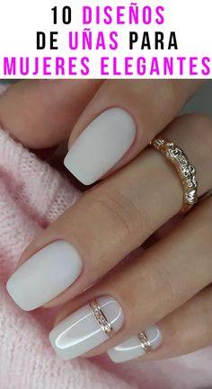 White Nail Designs, Nail Art Designs, White Nails With Design, Bridal Nails Designs, Elegant Nail Designs, Elegant Nails, Stylish Nails, Trendy Nails, Pink Nails