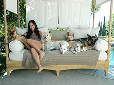 Maggie Q with her GSDs