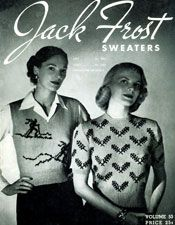 Jack Frost Sweaters, Volume No. 53, from 1951 reproduced and published. Filet Crochet Cherub with Mandolin pattern, Threadville mystery series, Oven Baked Onion Rings and Green Beans & Mushrooms recipes.