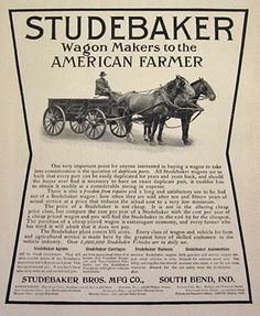 Original vintage magazine print ad for the Studebaker Farm Wagon. Tagline or sample ad copy: Wagon Makers to the American Farmer Publication Year: 1906 Approximate Ad Size (in inches): 9 x 12 Condition: EX Horse Drawn Wagon, Horror Picture Show, Bus Coach, Vintage Farm, South Bend, Horse Farms, Ford Models, Vintage Advertisements, Tractors