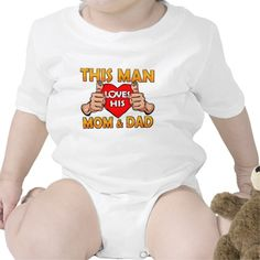 This Man Loves His Mom and Dad Comic Pop Art Style Baby Bodysuit