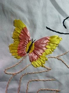 butterfly ribbon embroidery