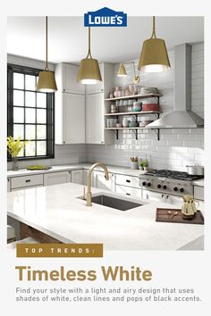 Trend Alert: Timeless White Kitchen Finishes Refresh your kitchen with timeless white cabinets and countertops from Lowe's. Outdoor Kitchen Cabinets, Kitchen On A Budget, Kitchen Redo, Home Decor Kitchen, Home Kitchens, Kitchen Remodel, Island Kitchen, Remodel Bathroom, Bathroom Remodeling