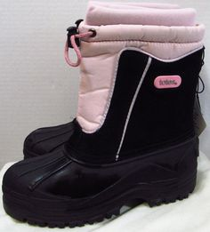 NEW Tote Snow Boots 4 M Pink Black Removable Insulated liner Waterproof Shell #Totes #SnowBoots #Outdoors
