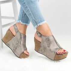 ad71b42b0c42be Women Peep Toe Sandals Adjustable Buckle Wedge Sandals Sandals Platform