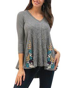 $76.99 Another great find on #zulily! Dark Heather Gray Embroidered Aria V-Neck Tunic #zulilyfinds
