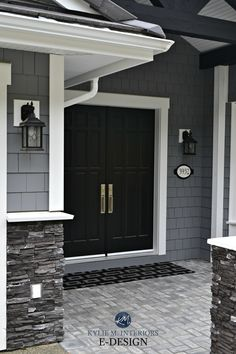 Exterior dark gray, similar to Benjamin Moore Dior Gray, gray stacked ledgestone. white trim, black double front door. Kylie M Interiors E-design and online color consulting