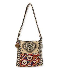 Look at this #zulilyfind! Black & White Tribal Jewel Mesa Crossbody Bag by Catori #zulilyfinds