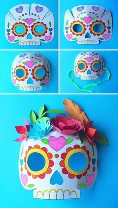 Printable Calavera Skull masks to color in! Templates and instructions happythought.co.uk