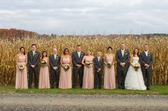 Wedding party portraits in the corn fields | Turnquist Photography