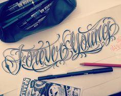 """74 Likes, 11 Comments - JuaNitooX-SalesGossesTatouage (@juanitoox) on Instagram: """"Lettering tattoo project :: FOREVER YOUNG :: #juanitoox #salesgossestatouage #lettering…"""""""