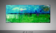 "Large 48"" Abstract Painting acrylic Painting Original Landscape painting  Textured Green Blue Collage"