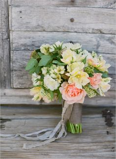 peach wedding bouquet by oak and the owl