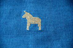 Ikea Cross stitched Dala Horse Blue pillow cover