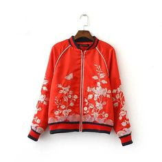 Retro Floral Butterfly Embroidery Bomber Jacket Baseball Outerwear Zip Coat 3 Color $38.55