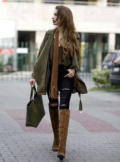 khaki green and brown tall boots fall outfit bmodish