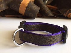 Louis Vuitton Dog Collar, Vuitton, Repurposed, Recycled, Upcycled, Reworked, x-small or small, purple, pink, black or powder blue by SiestaKeyNeedlepoint on Etsy