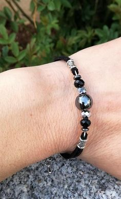 Handmade Triple Moon Goddess Stretch Bracelet wRainbow Moonstone Focal Bead OOAK Healing Balance Natural stones Calming Stress Relief