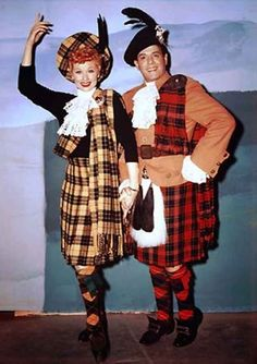 "On set photo from ""Lucy Goes to Scotland"" episode (1956)."