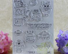 Birthday Monsters Clear Rubber Stamp Set w/ alien, ufo, spaceship, planet, rocket, earth, gift, monster, star, present, transparent #stamping #rubberstamping #rubberstamps #cards #cardmaking #clearstamps #etsy #scrapbook #scrapbooking #papercraft #papercrafting ##paperart #papercrafting