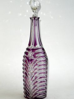 Bohemia Cut Crystal Decanteramethyst purple glass by Investiques, £120.00