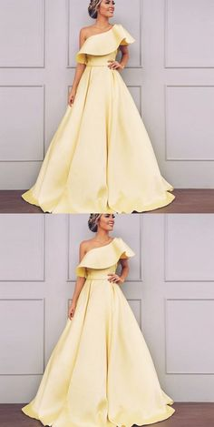prom dresses modest Simple one shoulder yellow long prom dress 2019 by PrettyLady on Prom Dresses 2018, Grad Dresses, Cheap Prom Dresses, Trendy Dresses, Modest Dresses, Evening Dresses, Formal Dresses, Dress Prom, Long Dresses