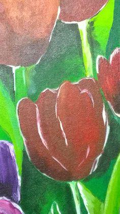@anita_schuiten Dag 6 #synchroonkijken Fotografeer #rood Tulpen op mijn laatste schilderij.