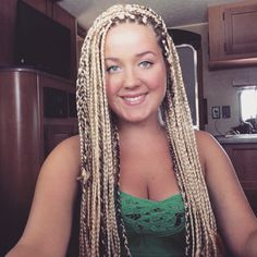 Blonde box braids Big Box Braids Hairstyles, Braided Ponytail Hairstyles, African Braids Hairstyles, Weave Hairstyles, Pixie Hairstyles, Soft Blonde Hair, Blonde Box Braids, Blonde Hair Looks, White Girl Braids