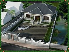 ban ve thiet ke nha dep 1 tang mai thai 2133 Affordable House Plans, 3d House Plans, House Outside Design, Casas Containers, Bungalow House Design, Interior Design Kitchen, Exterior Design, Beautiful Homes, Garden Design