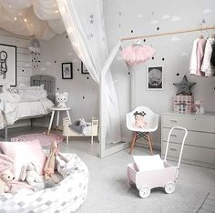 Love this pretty little girl's room! Rosaline doll bed, Maileg soft bunny and Cam Cam Rainbow mobile are all available at www.istome.co.uk