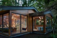 Glass pavilion in the forest this renovated contemporary home is situated on a remote wooded lot in Lake Forest Park, just north of Seattle. Design Exterior, Modern Exterior, Lake Forest Park, Glass Pavilion, Forest House, Forest Cottage, Forest Cabin, Storybook Cottage, Mountain Cottage