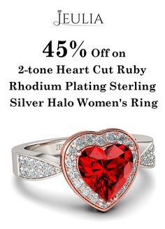 JUELIA is offering 45% discount on 2-tone Heart Cut Ruby Rhodium Plating Sterling Silver Halo Women's Ring. Place your order now and avail this offer.  For more Jeulia Coupon Codes visit:   http://www.couponcutcode.com/stores/jeulia/